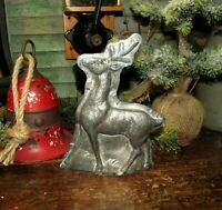 Primitive Antique Vtg Tin Style Christmas Reindeer Silver Resin Chocolate Mold