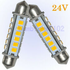 2 x 360° 44MM 24-2835-SMD 24V Warm White Dome Festoon LED License Plate Light