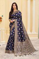 Designer Blue Weaving Zari Work Bollywood Sari Banarasi Silk Party Wear Saree
