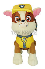 "PAW PATROL PLUSH! RUBBLE YELLOW SMALL DOG PUPPY BULLDOG SOFT DOLLS 6.5-7"" NEW"