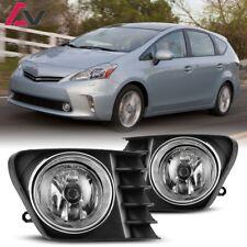 12-14 For Toyota Prius V Clear Lens Pair OE Fog Light Lamp+Wiring+Switch Kit DOT