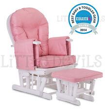 WHITE WOOD - PINK SUPREMO BAMBINO Nursing Glider Rocking Maternity Chair Stool