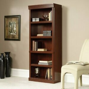 Cherry Finish 5 Shelf Bookcase Wooden Bookshelf Adjustable Shelves Storage Home
