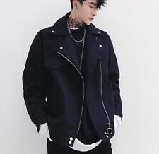 Mens Winter Lapel Cotton Coat Casual Loose Fit Motorcycle Punk Outwear Jacket UK
