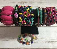 lot 10 Vintage Pink Green Purple bracelets bangles chunky Stretch Clasp