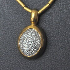 Gurhan 24K Yellow Gold Diamond Small Oval Pendant Necklace New $3775 Sale