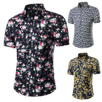 Mens Summer Floral Print Shirt Short Sleeve Blouse Hawaiian Casual Holiday Shirt