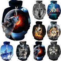 Mens Womens Wolf 3D Print Pullover Hoodie Sweatshirt Pullover Jumper Hoody Coat