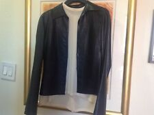 gucci leather blazer/shirt woman black sz 40 EUC