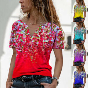 Summer Womens Casual Floral Blouse Button V Neck Short Sleeve T Shirt Loose Tops