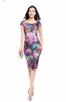 New Women's Ladies New Elegant Floral Feather Bodycon Sexy dresses summer print