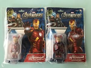 2 Marvel's Avengers 100% Bearbrick Iron Man Normal / Damaged IRONMAN Be@rbrick