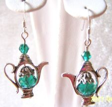 8Mm Emerald Green Stone~Crystal Accent Tea Pot Earrings W/925 Sterling Ear Wires