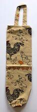 Chicken Fabric Plastic Grocery Bag Holder Dispenser | Cotton | Beige