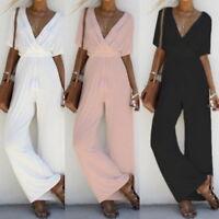 Summer Women Girl V Neck Loose Playsuit Party Romper Short Sleeve Longsuit
