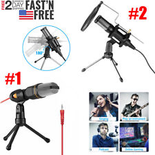 USB/ 3.5mm Microphone Wired Condenser Microphone Studio Mic W/ Stand Clip for PC