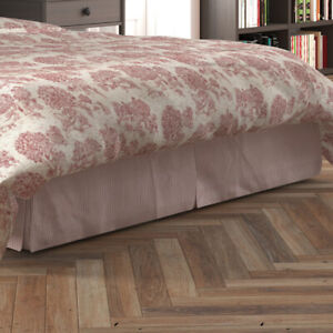 Carolina Linens Tailored Bedskirt in Farmhouse Red Traditional Ticking Stripe on