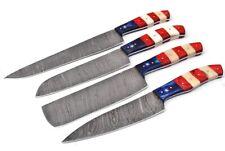 Damascus--Handmade 4 pcs American Flag Chef Knife Kitchen set —Pakka Wood;5773