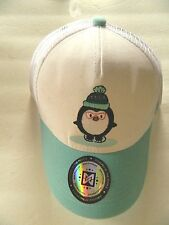 NEW MAKERWEAR Green and White Baseball Snapback Cap Hat with Penguin