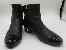 CHANEL $1300 Black Leather Cap Toe Booties with Pearl Heels Size 38