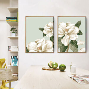 2 Piece Canvas Prints Set - Magnolia Flowers Petal Botanical Wall Art - Unframed