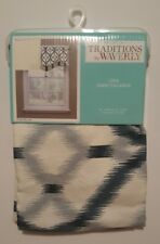 Traditions by Waverly Valance Izmir Ikat Curtain Scalloped Blue White Spa NEW