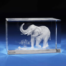 3D Laser Crystal Glass Etched Engraving Stand Elephent Animals Landscape S
