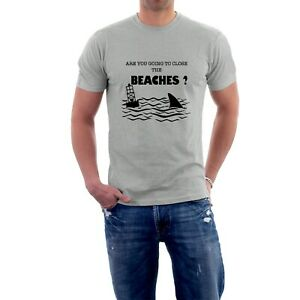 Jaws T-shirt Are You Going to Close the Beaches Shark Tee Movie Tribute