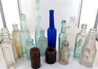 .GOOD JOB LOT 14 ANTIQUE SMALL GLASS BOTTLES / JARS.
