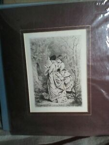 ANTIQUE PRINT : B /W ETCHING  SPRING -  TWO LADIES IN THE GARDEN. 1900.