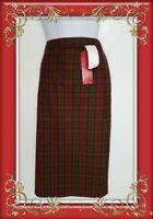 Marks & Spencer M&S Skirt 16 Red WOOLCheck Tartan plaid straight pencil BNWT
