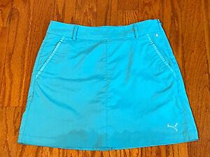 Puma Women Athletic Golf Tennis Skort Skirt w/ Shorts Sz 4 Pockets Blue Aqua