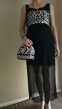 Formal Outfit Women. Black&White Long Dress Size M. Black&White Embroidered Bag