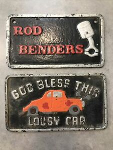 Vintage Customized License Plates Rod Benders and God Bless This Lousy Car