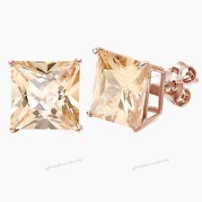 14K Rose Gold Finish Princess Cut Morganite Stud Earrings 4-Prong Set 16.9ct