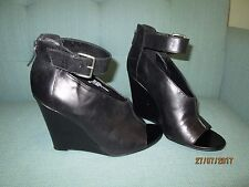 1e5061be6 Trouve Ankle Boots Black Leather Shoes Womens Size 7.5