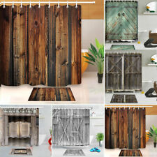 3D Print Fabric Rustic Wood Shower Curtain Waterproof Mildewproof Bathroom New