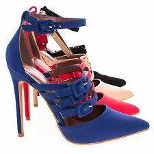 Retro Adjustable Strappy Buckle With Ankle Strap High Heel Pump