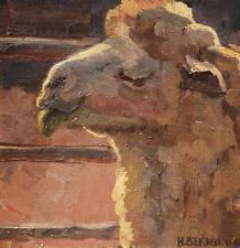 Hilde Böklen 1897-1987 Stuttgart / frühes Gemälde Kopf eines Kamels / 1917 sign.