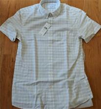 $110 Authentic Lacoste Illusion Checked Button Up SS Shirt Vanilla 40 Medium