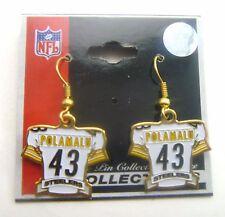 Pittsburgh Steelers Troy Polamalu #43 White Jersey Charm Earrings   NFL Licensed