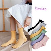Women Cotton Solid Color New Harajuku Ruffles Hosiery Tube Socks Short Socks