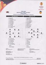 Opstellingen / Line-ups AZ Alkmaar v Valencia CF 29-03-2012 UEFA Cup 1/4 final
