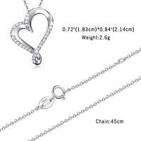 925 Sterling Silber LOVE Herz Zirkonia Anhänger Damen Halskette Kette Schmuck