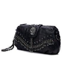 Punk Style Women Shoulder Messenger Bag Sheepskin Leather Handbag Tote Skull Bag