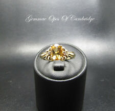 14ct Gold 14K Gold Citrine and Diamond Three Stone Ring Size N 3.28g