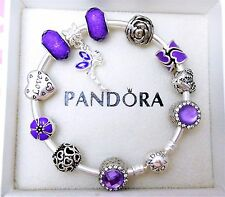 Authentic Pandora Silver Bangle Charm Bracelet With Purple Heart European Charms