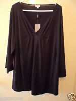 BNWT BIB NEW BLACK STRETCH TOP T TEE SHIRT PLUS SIZE M TUNIC VISCOSE ELASTANE