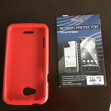 ONE RED SILICONE CASE SKIN AND ONE SCREEN PROTECTION SHEET FOR HTC ONE X