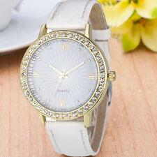 Geneva Mujeres de lujo del cuero del diamante de Bling pulsera de cuarzo Watch